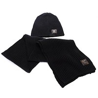 "Hot Sale ""Louis Vuitton"" LV Tending Women Stylish Winter Knit Warmer Hat Cap Scarf Set Black"