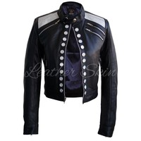 Women Party Black Leather Jacket