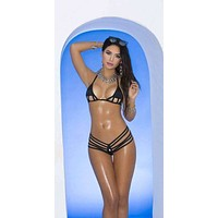 Extreme Strappy Black Micro Triangle Top and G-String Thong Bikini Swimsuit