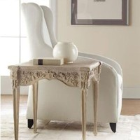 Carved End Table Weathered Solids