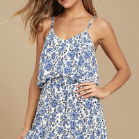 Floral Fave Blue and White Floral Print Dress