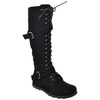 Womens Knee High Boots Lace Up Combat Buckle Straps Shoes black