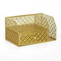 Gold Metal Desk Organizer