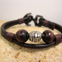 FREE SHIPPING - Men's leather bracelet,men bracelet, Men leather bracelet.Men's Bracelet, Brown leather with  Brown yarn, bronze anchor.