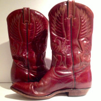 Vintage Brown Quality Craftmanship Boulet Canada - Embossed Leather Cowboy Boots - 70s or 80s