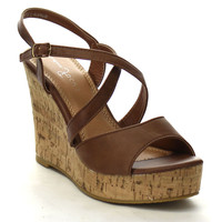 Faux Leather Ankle Buckle Wedge