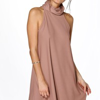 Natalia Textured Roll Neck Swing Dress