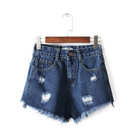 Summer Women's Fashion High Rise Rinsed Denim Stylish Denim Shorts [6034224961]