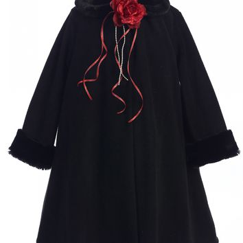 Black Fleece Girls Dress Coat with Fur Trim 2-12