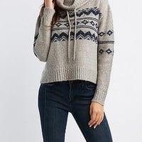 Printed Turtle Neck Pullover Sweater | Charlotte Russe