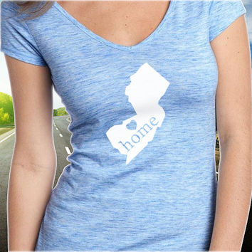 New Jersey Home T-Shirt - V-Neck - State Pride - Home Tee - Clothing - Womens - Ladies