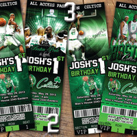 NBA Boston Celtics Birthday Invitation Ticket Basketball