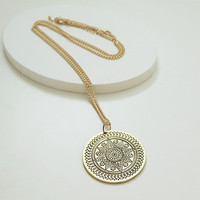 Gold Tone Long Necklace with Disc Pendant
