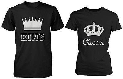 Image of Cute Matching Couple T-Shirts in Black - King and Queen - 100% Cotton