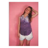Vintage 1990s hand dyed OMBRE TIE DYE Purple Sleeveless button down collared Denim Shirt