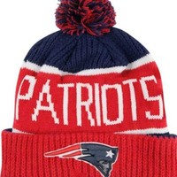 """New England Patriots Red Star """"Calgary"""" Beanie Hat with Pom - NFL Cuffed Winter Knit Toque Cap"""