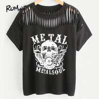 Skull Print Slashed Tee Shirt Black Short Sleeve Top Woman Round Neck Graphic Cotton T Shirt