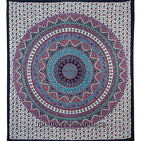 Multicolor Mandala Psychedelic Hippie Bohemian Tapestry Wall Hanging Bedspread on RoyalFurnish.com