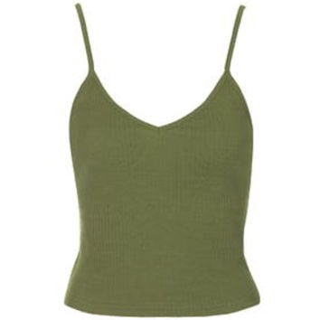 TALL Ribbed Cropped Cami - Olive