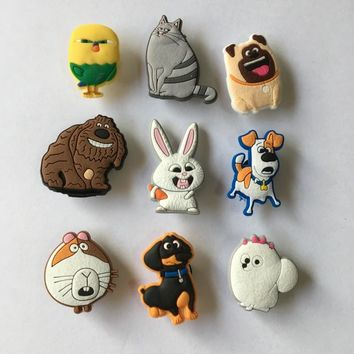 Novelty 9PCS the Secret Life of Pets PVC Shoe Charms Accessories for Croc Decorations for Bracelets with holes Kids Party Gift