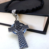Large Cross Necklace: Celtic Knot Men's Jewelry, Black Twisted Macrame Cord Hipster Unisex Necklace, Adjustable Choker