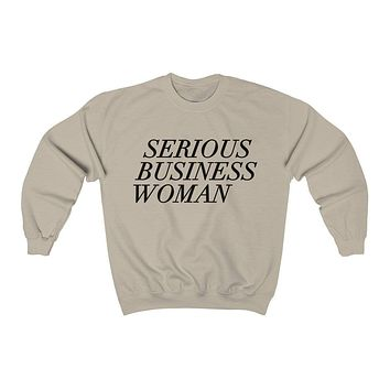 Serious Business Woman Crewneck Sweatshirt
