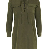 **Tie-Front Shirt Dress by Glamorous Petites