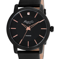 Kenneth Cole Black Plated Round Watch with Rose Gold Tone Accents