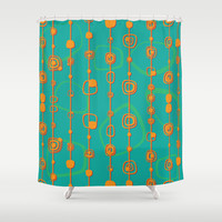 Vintage lines Shower Curtain by Tony Vazquez