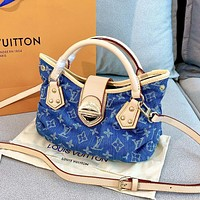 Louis Vuitton LV AAA new denim canvas letter print ladies handbag diagonal bag