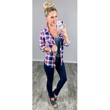Penny Plaid Flannel Top - Pink/Navy