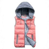 women's cotton wool collar hooded down vest Removable hat Hot high quality Brand New female winter warm Jacket&Outerwear Thicken