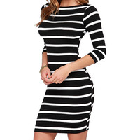 2016 Women's Fashion Striped Bodycon Autumn Dresses Slimming Wrap Clothing For Woman Casual   Fall Dress