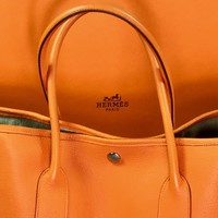 HERMÈS GARDEN PARTY PM HAND BAG PURSE ORANGE WOMEN NEGONDA LEATHER