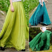Women Sexy Summer Skirts New Retro Lady Full Circle Boho Gauze Chiffon Long Skirt Pleated Long Maxi Skirt SV002728 One Size = 1745372804