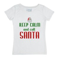 Keep Calm And Call Santa T-shirt-Female White T-Shirt