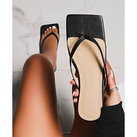 Fashion Square Toe Flip Flops High Heel Slippers Women Sandals Black