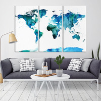 76241 - Large Wall Art World Map Canvas Print- Navy Blue Watercolor World Map Travel Canvas Print- Modern XXL Large Wall Art World Map Canvas Print