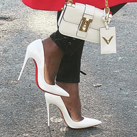 ( S C ) Christian Louboutin 2021 white New white pointed high heels