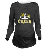 Cheerleader Gold and Black Long Sleeve Maternity T by designsbyalexh