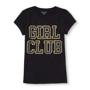 Girls Short Sleeve 'Girl Club' Glitter Graphic Tee | The Children's Place