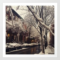 Photo of the beautiful Brooklyn Heights covered in icy snow  Art Print by ANoelleJay