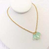 Chrysolite Necklace - Green Opal - Light Green Jewelry - Swarovski Crystal - Small Drop Pendants - Simple Necklace - Stainless Jewelry
