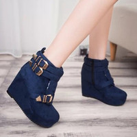Women Short Leather Boots Platform Flat With Short Boot With Metal Zipper Loafer Shoes For Winter = 1946932548