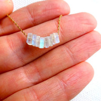 Delicate Moonstone Chip & 14k Gold Fill or 925 Sterling Silver Chain Necklace