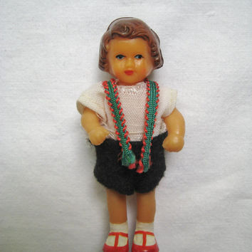 Vintage Doll Soft Rubber Doll and Clothes ARI Germany Mark 3 Inches Jointed Arms and Legs Miniature Dollhouse Doll Clean USED