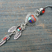 tribal heart belly ring dreamcatcher sterling gemstone inlay in native american tribal belly dancer boho dancer tribal fusionr style