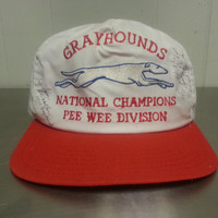Vintage 80's Grayhounds Bus National Pee Wee Division Football Snapback Dad Hat Orange White Signed