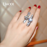 UMODE Exaggerated Open Ring 3 Shaped created CZ Stone Rhodium Color Ring for Women Bague Femme Fashion Jewelry Anillos UR0211