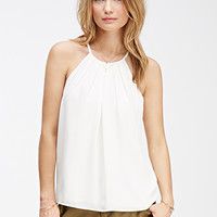 Pleated-Front Halter Top